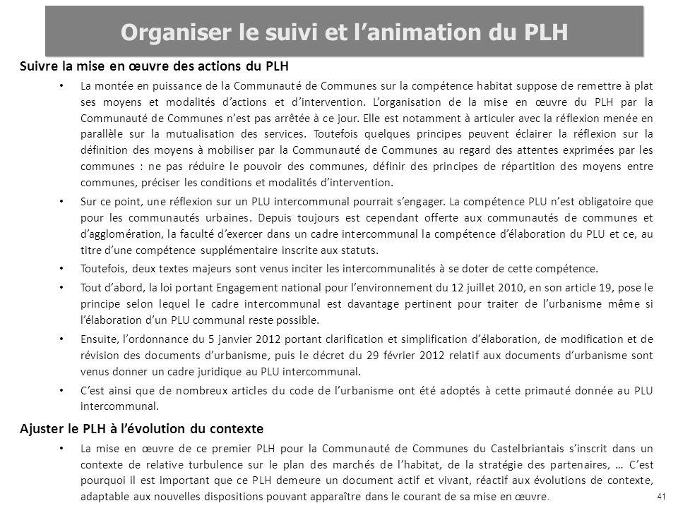 Organiser le suivi et l'animation du PLH