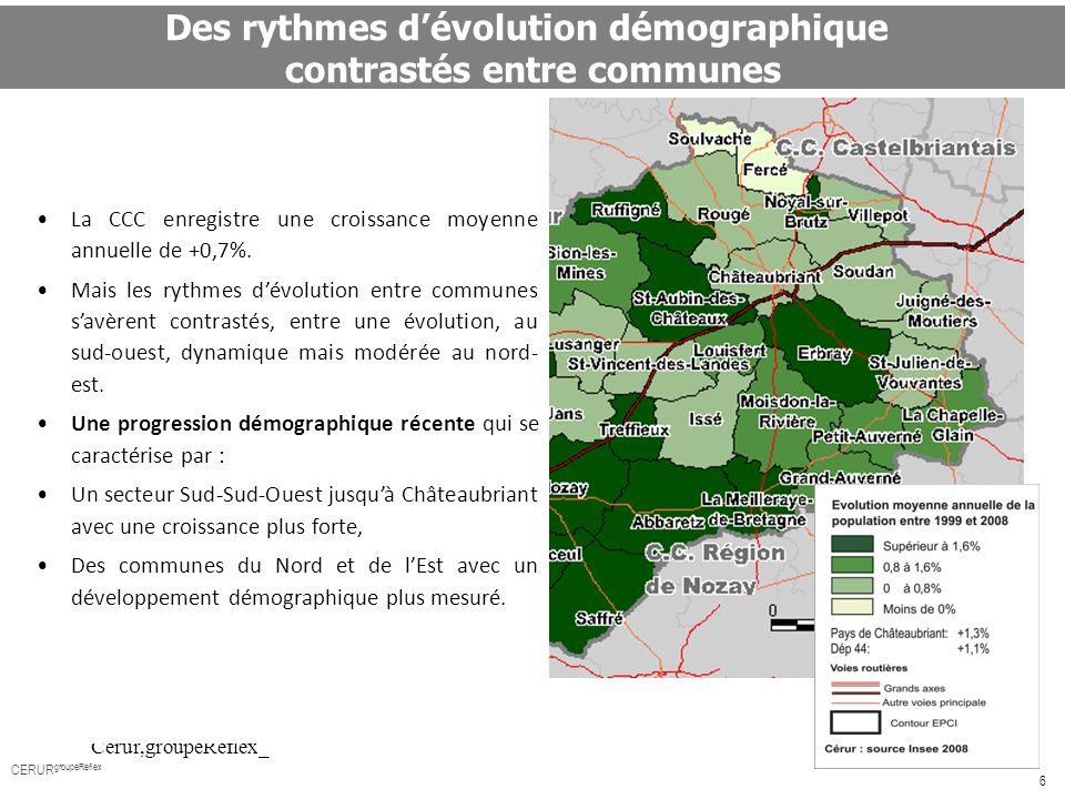 Des rythmes d'évolution démographique contrastés entre communes