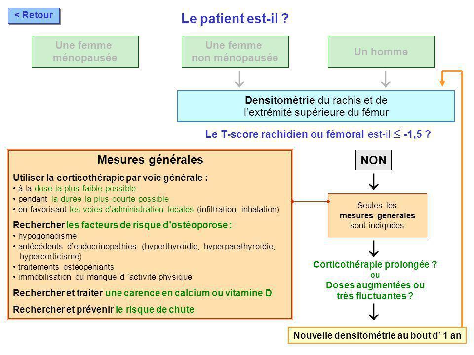 Corticothérapie prolongée Nouvelle densitométrie au bout d' 1 an