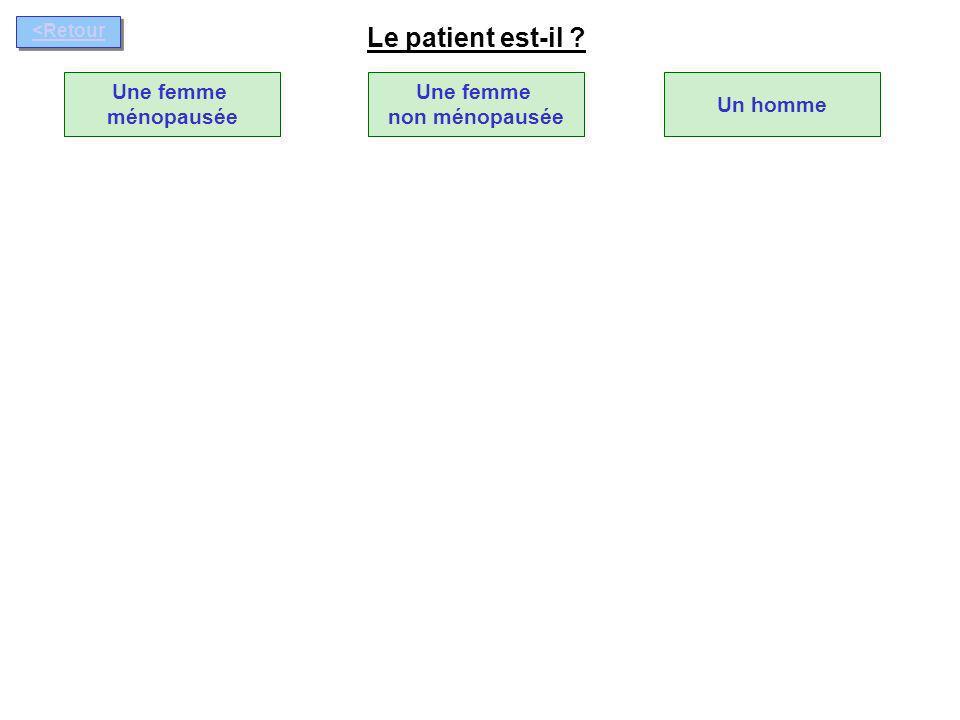 Le patient est-il Une femme ménopausée Une femme non ménopausée