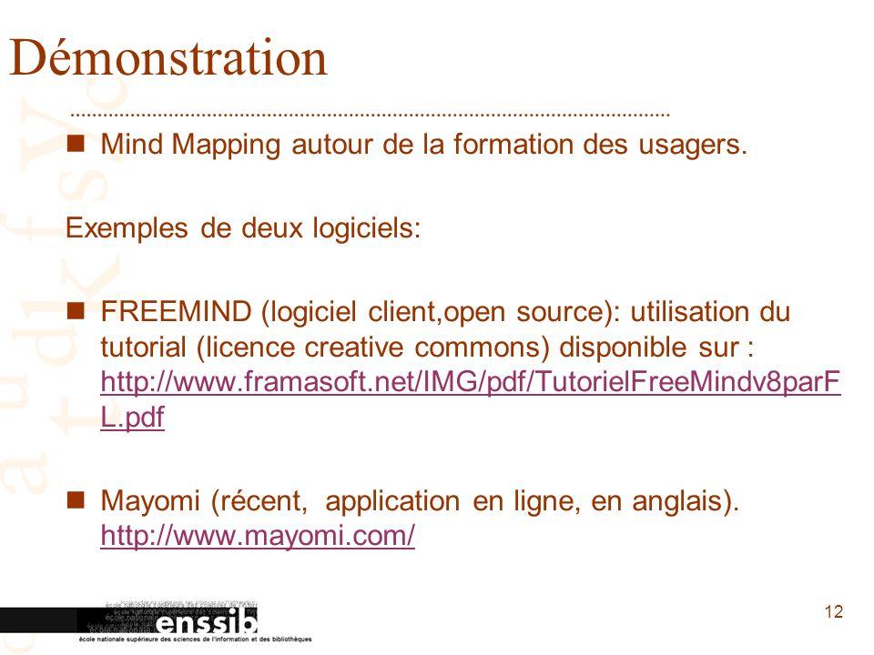 Démonstration Mind Mapping autour de la formation des usagers.