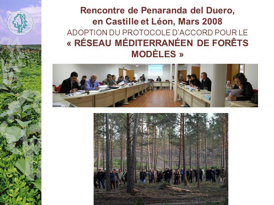 Rencontre de Penaranda del Duero, en Castille et Léon, Mars 2008 ADOPTION DU PROTOCOLE D'ACCORD POUR LE « RÉSEAU MÉDITERRANÉEN DE FORÊTS MODÈLES »
