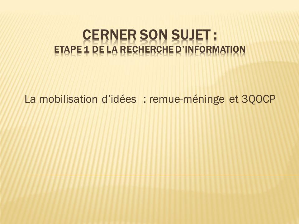 CERNER SON SUJET : ETAPE 1 DE LA RECHERCHE D'information