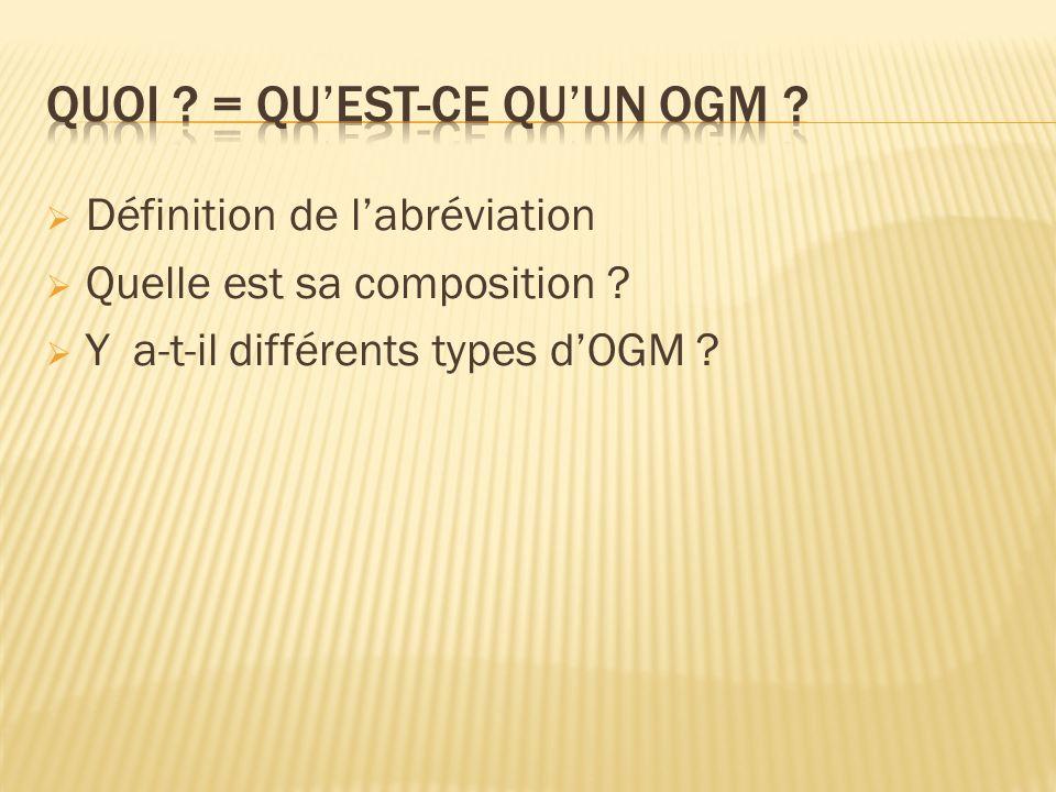 QUOI = Qu'est-ce qu'un OGM