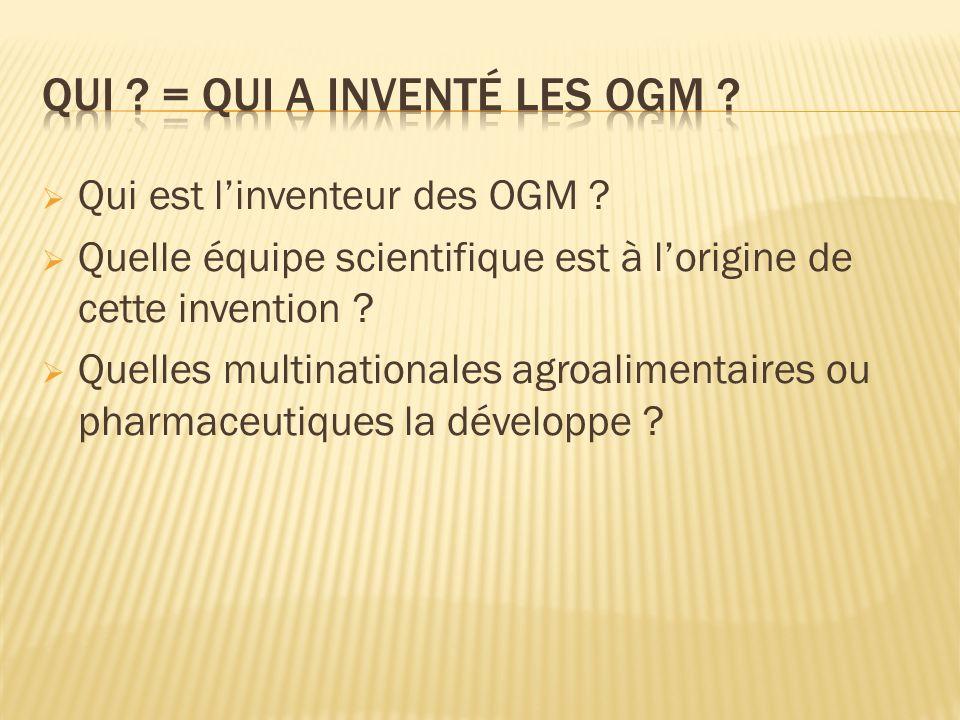 Qui = Qui a inventé les OGM