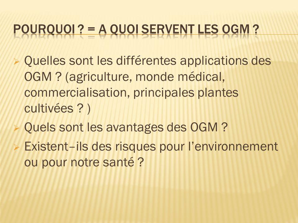 Pourquoi = A quoi servent les OGM