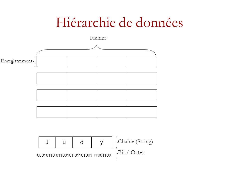 Hiérarchie de données Fichier J u d y Chaîne (String) Bit / Octet