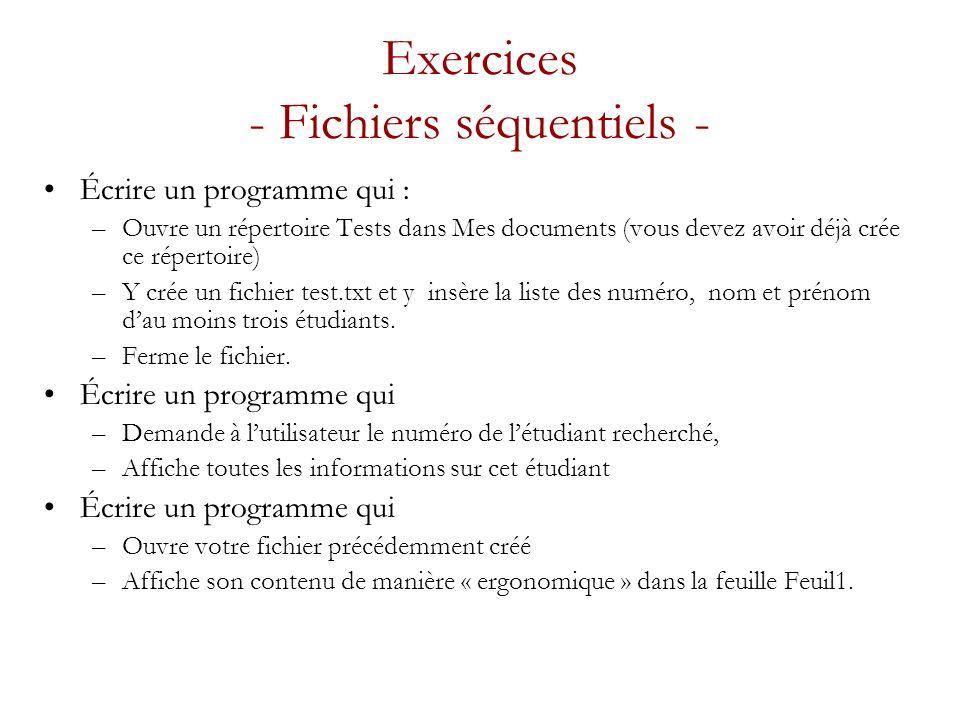 Exercices - Fichiers séquentiels -