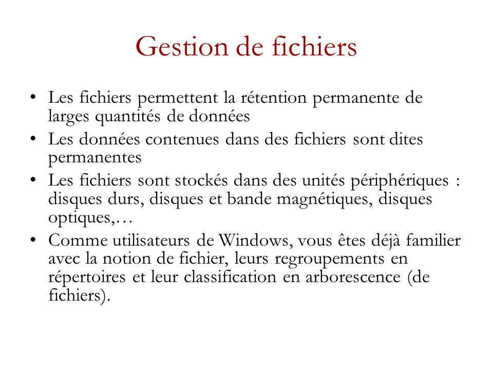 Gestion de fichiers Les fichiers permettent la rétention permanente de larges quantités de données.