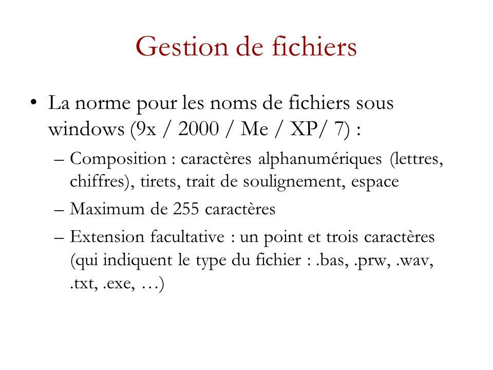 Gestion de fichiers La norme pour les noms de fichiers sous windows (9x / 2000 / Me / XP/ 7) :