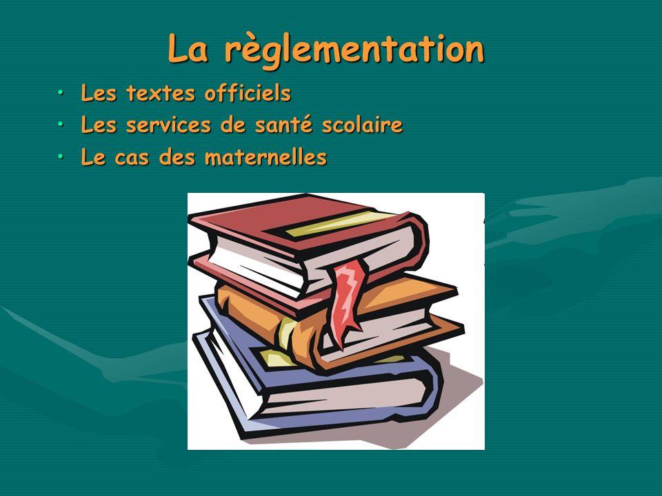 La règlementation Les textes officiels Les services de santé scolaire