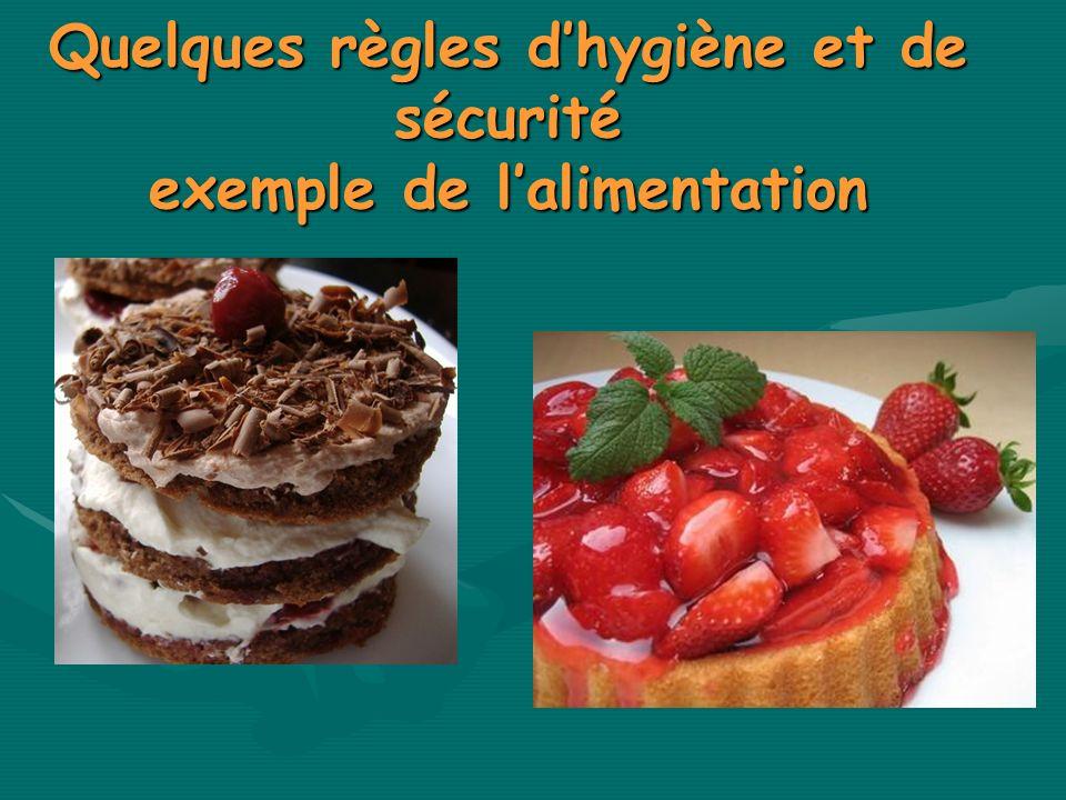 Quelques règles d'hygiène et de sécurité exemple de l'alimentation