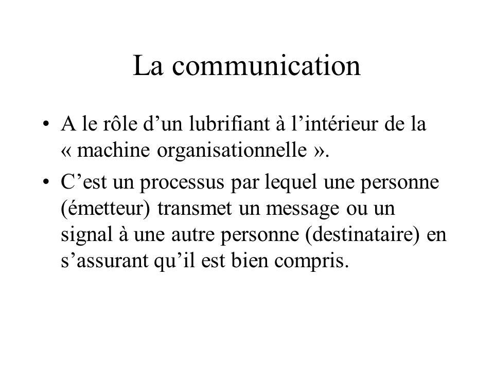 La communicationA le rôle d'un lubrifiant à l'intérieur de la « machine organisationnelle ».