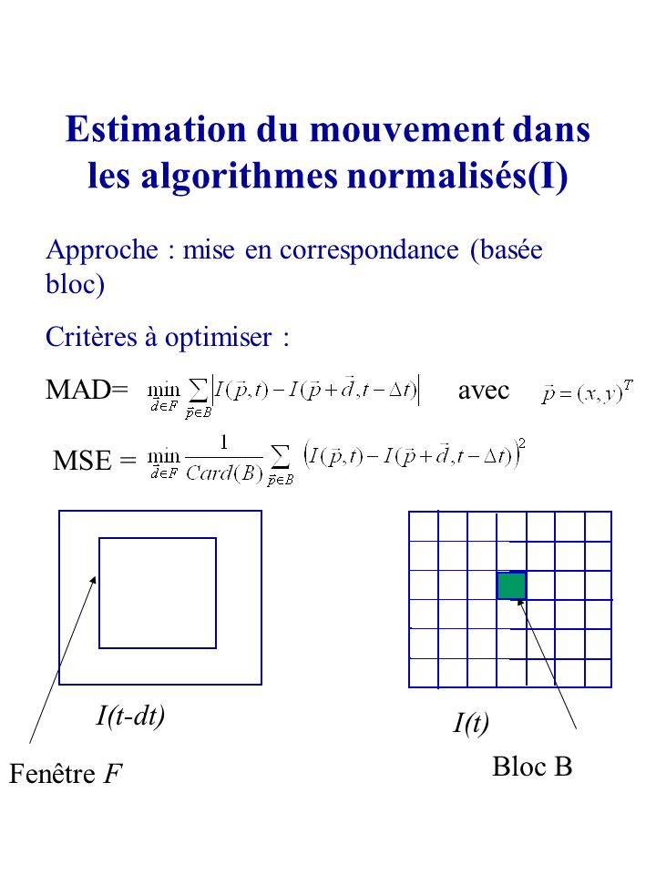 Estimation du mouvement dans les algorithmes normalisés(I)