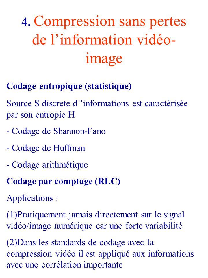 4. Compression sans pertes de l'information vidéo-image