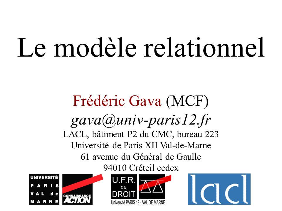 Le modèle relationnel Frédéric Gava (MCF) gava@univ-paris12.fr