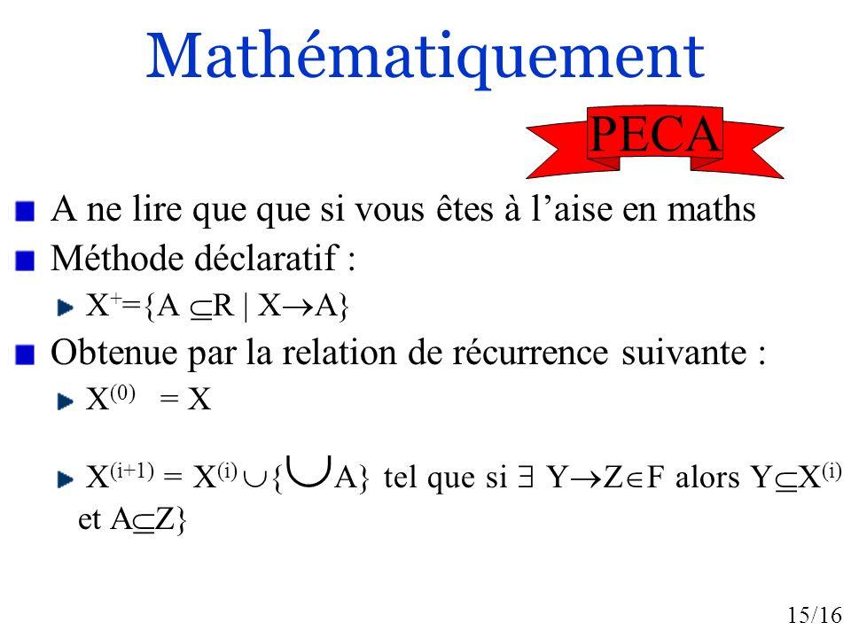 Mathématiquement PECA A ne lire que que si vous êtes à l'aise en maths