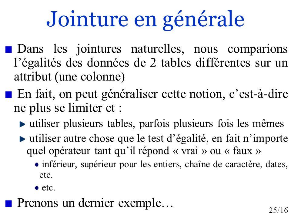 Jointure en générale Dans les jointures naturelles, nous comparions l'égalités des données de 2 tables différentes sur un attribut (une colonne)