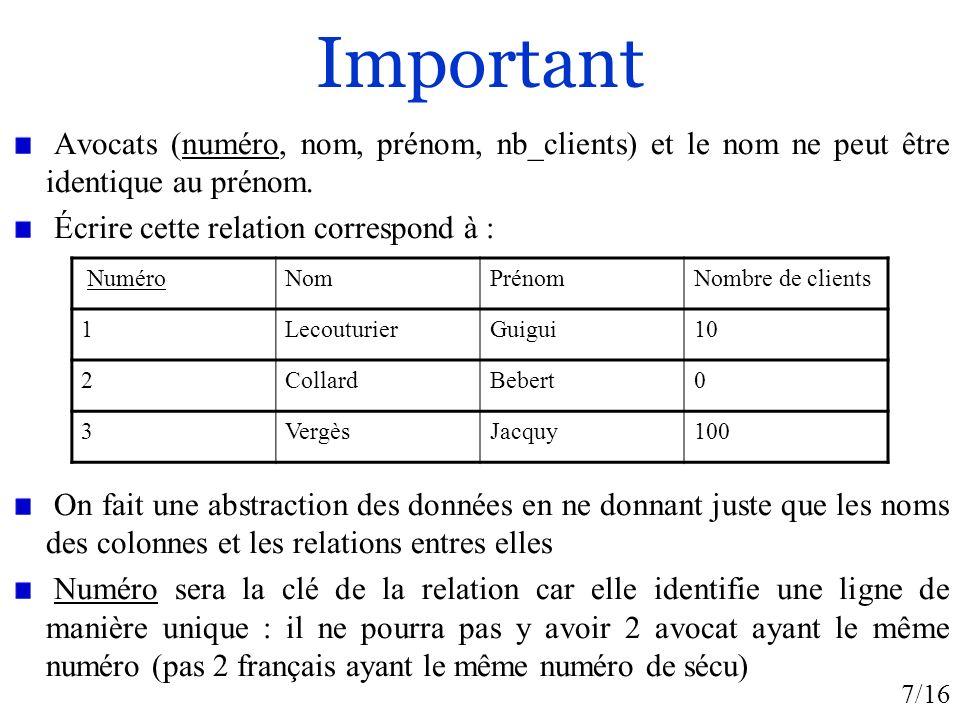 Important Avocats (numéro, nom, prénom, nb_clients) et le nom ne peut être identique au prénom. Écrire cette relation correspond à :