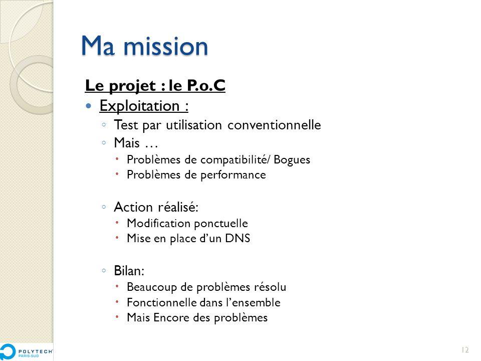 Ma mission Le projet : le P.o.C Exploitation :