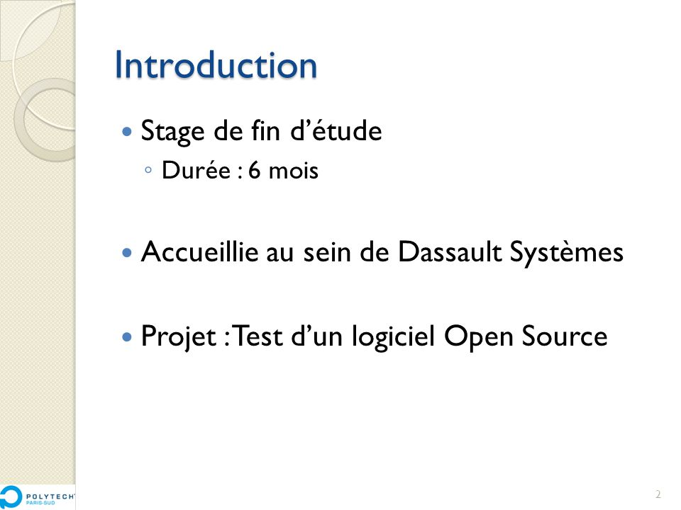 Introduction Stage de fin d'étude