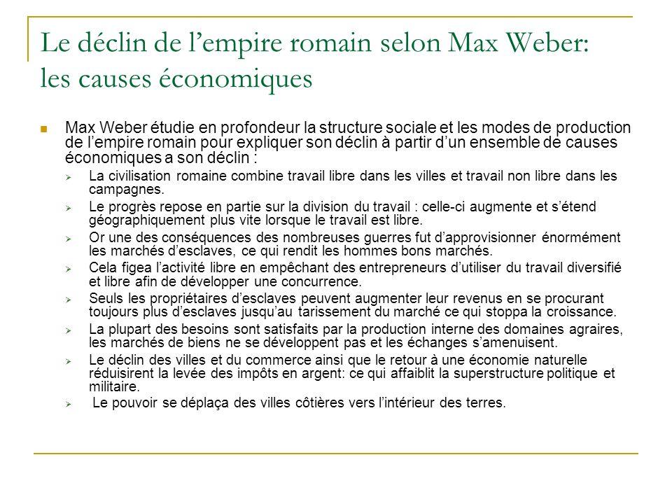 Le déclin de l'empire romain selon Max Weber: les causes économiques