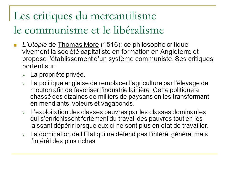 Les critiques du mercantilisme le communisme et le libéralisme