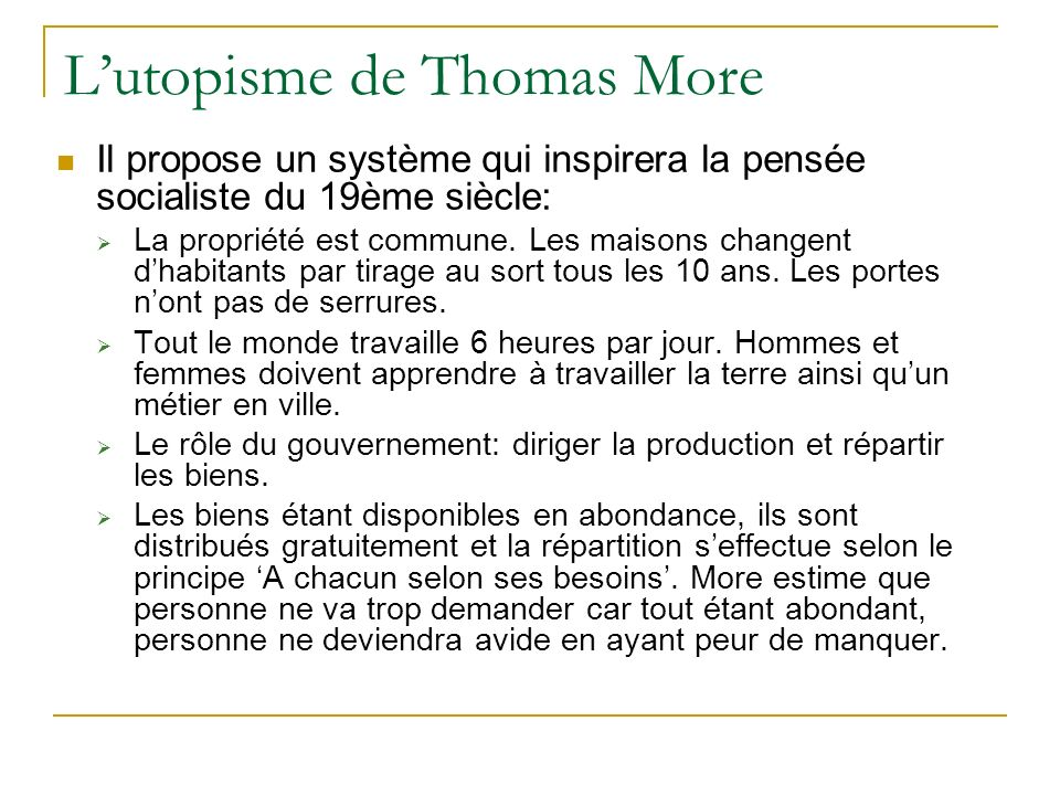 L'utopisme de Thomas More