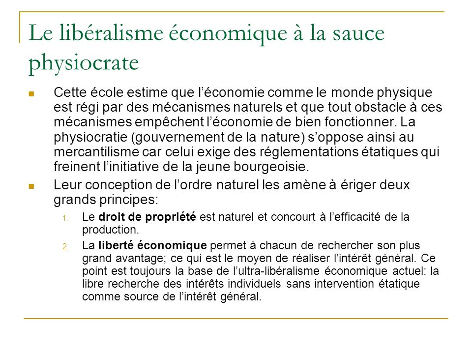 Le libéralisme économique à la sauce physiocrate
