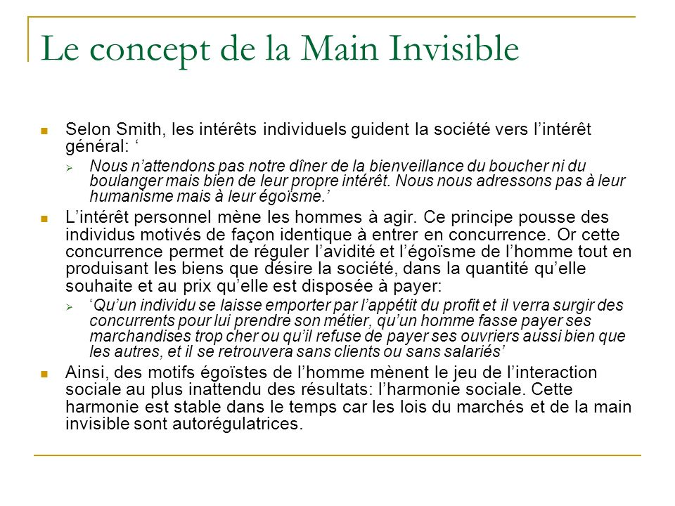 Le concept de la Main Invisible