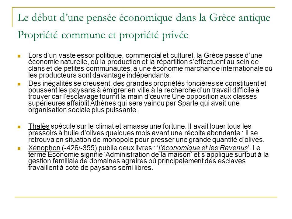 Le début d'une pensée économique dans la Grèce antique Propriété commune et propriété privée