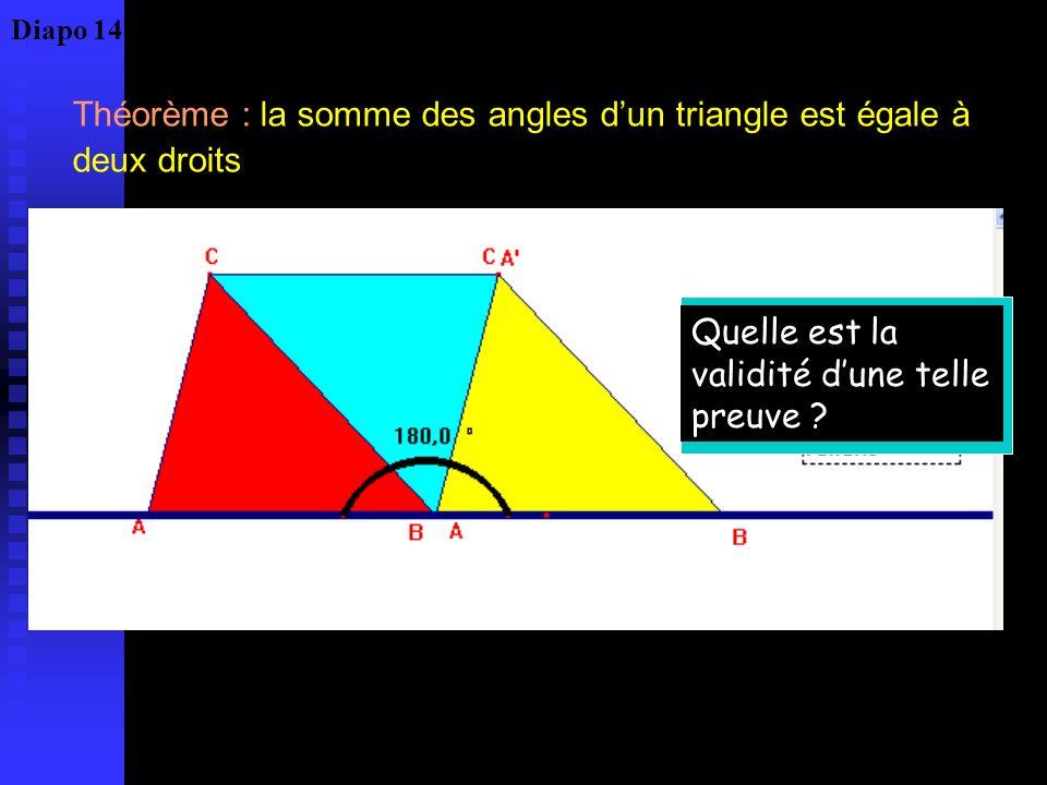 Théorème : la somme des angles d'un triangle est égale à deux droits