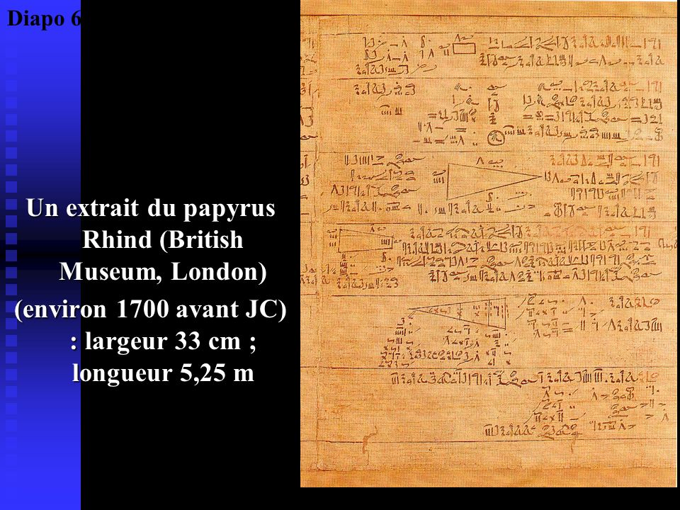 Un extrait du papyrus Rhind (British Museum, London)