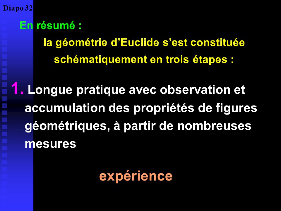 Diapo 32 En résumé : la géométrie d'Euclide s'est constituée schématiquement en trois étapes :