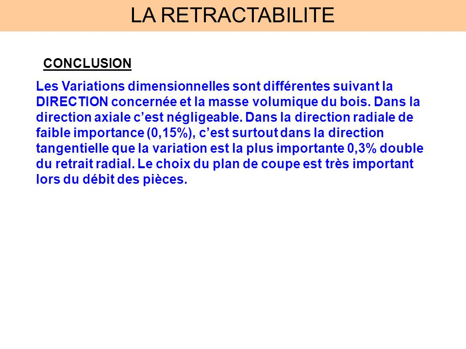 LA RETRACTABILITE CONCLUSION