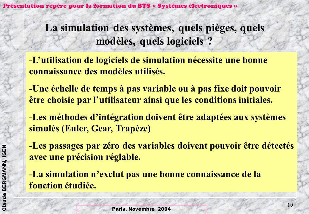La simulation des systèmes, quels pièges, quels modèles, quels logiciels