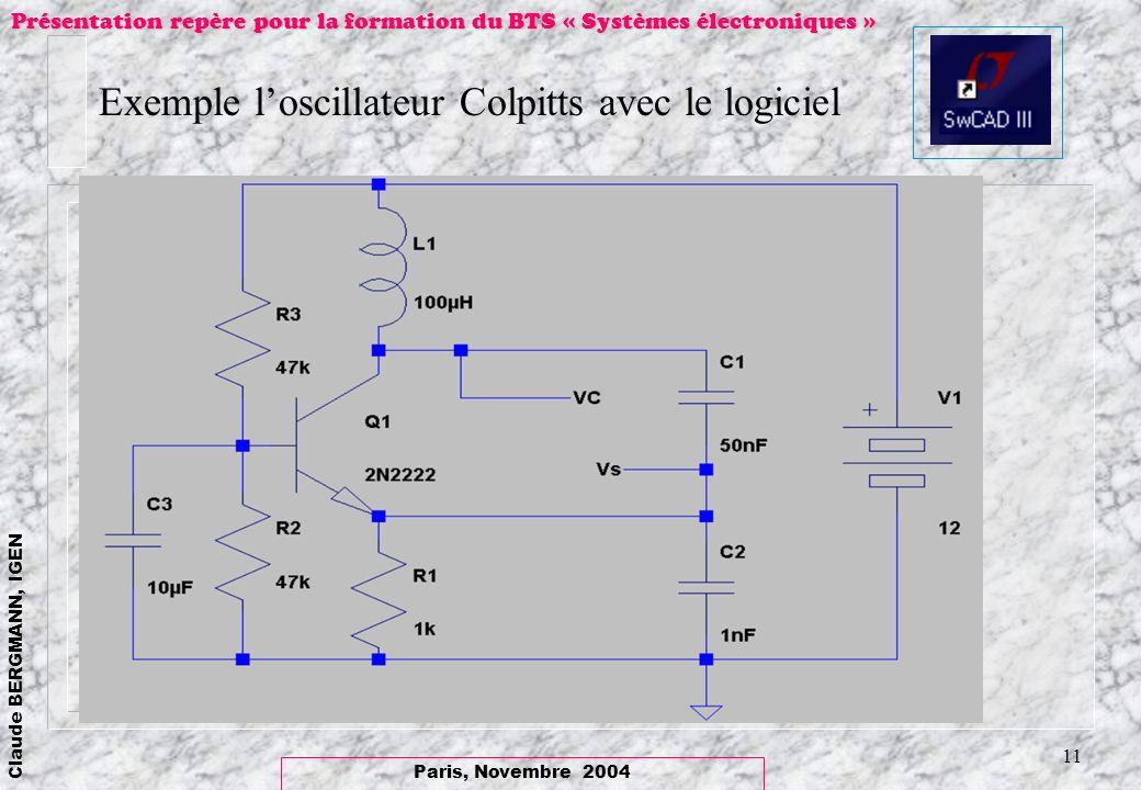 Exemple l'oscillateur Colpitts avec le logiciel