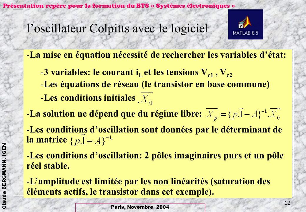l'oscillateur Colpitts avec le logiciel