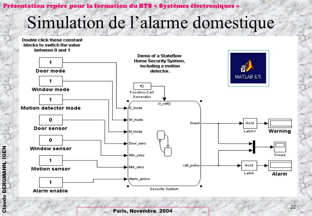 Simulation de l'alarme domestique