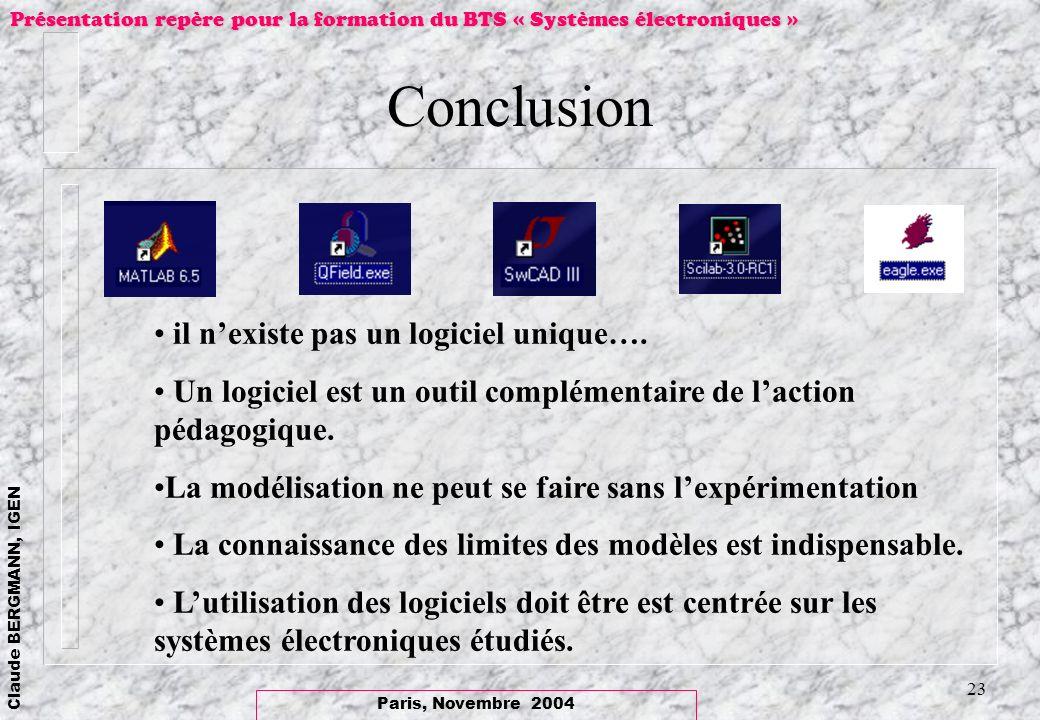Conclusion il n'existe pas un logiciel unique….