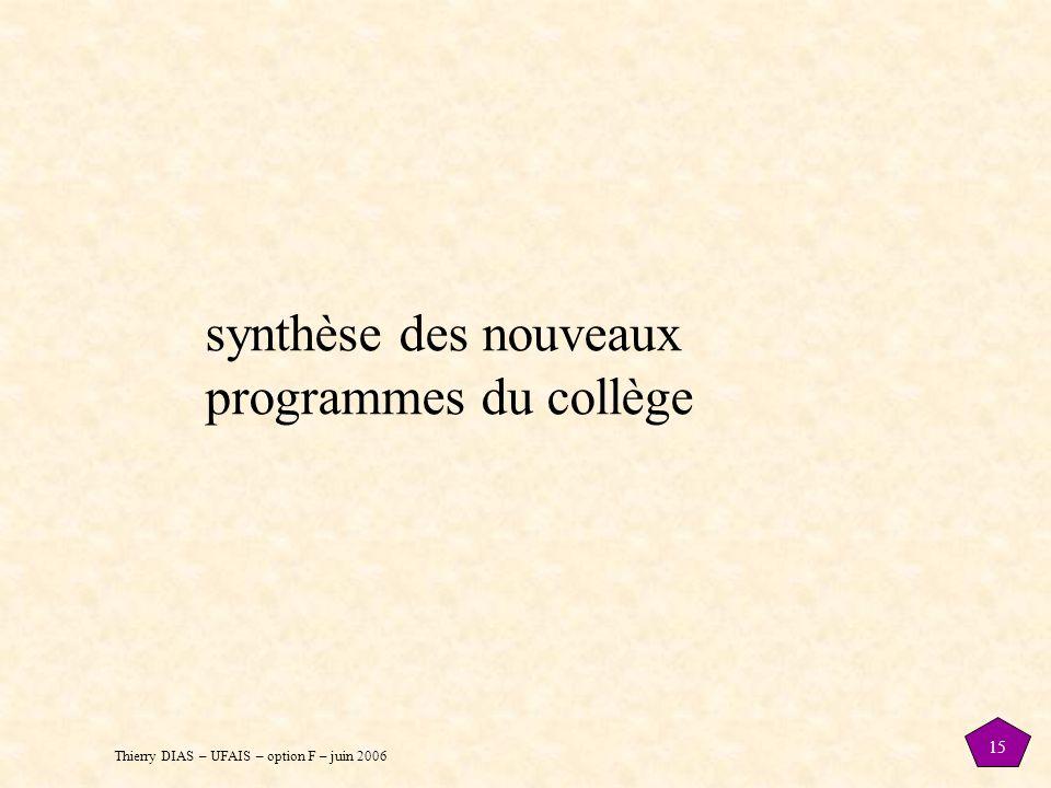 synthèse des nouveaux programmes du collège