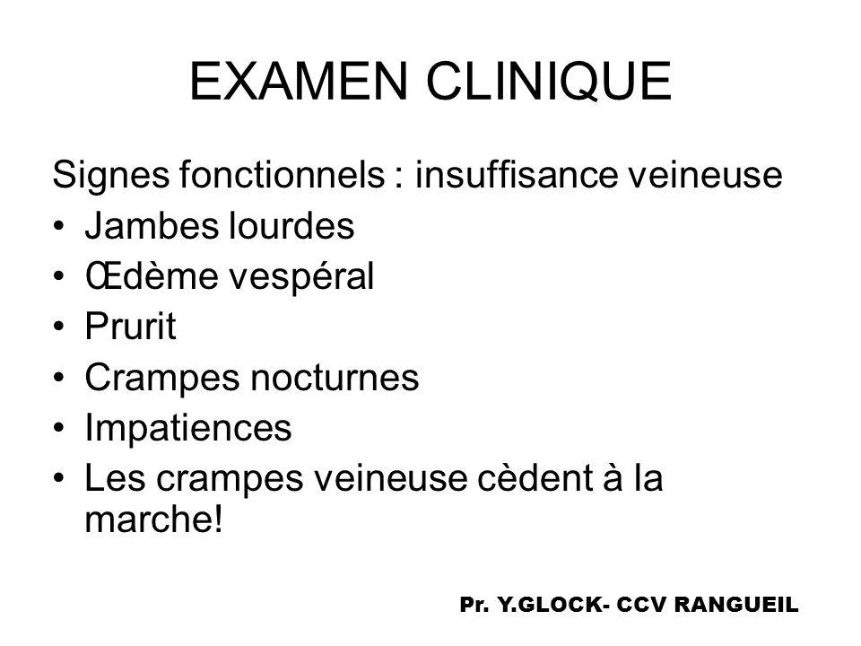 EXAMEN CLINIQUE Signes fonctionnels : insuffisance veineuse