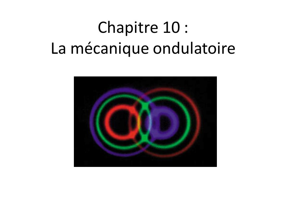 Chapitre 10 : La mécanique ondulatoire