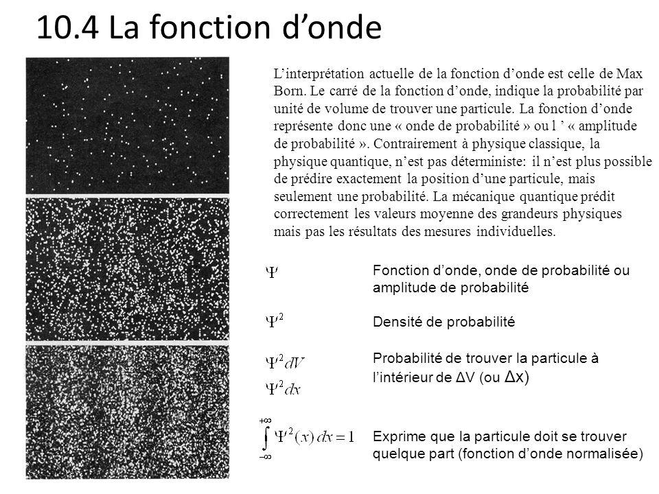 10.4 La fonction d'onde
