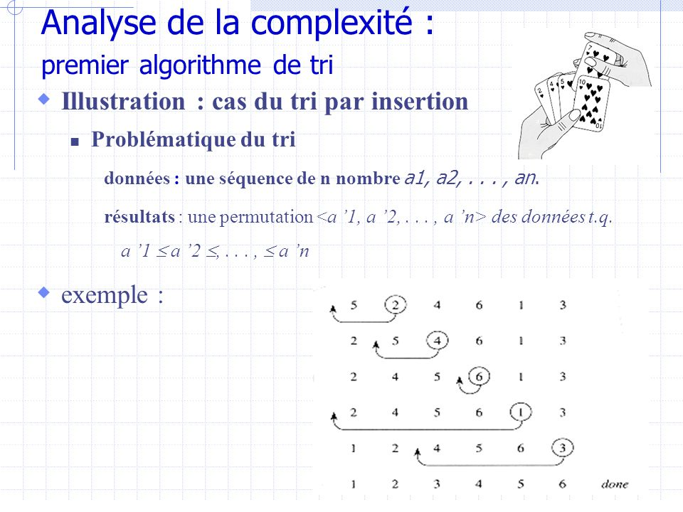 Analyse de la complexité : premier algorithme de tri