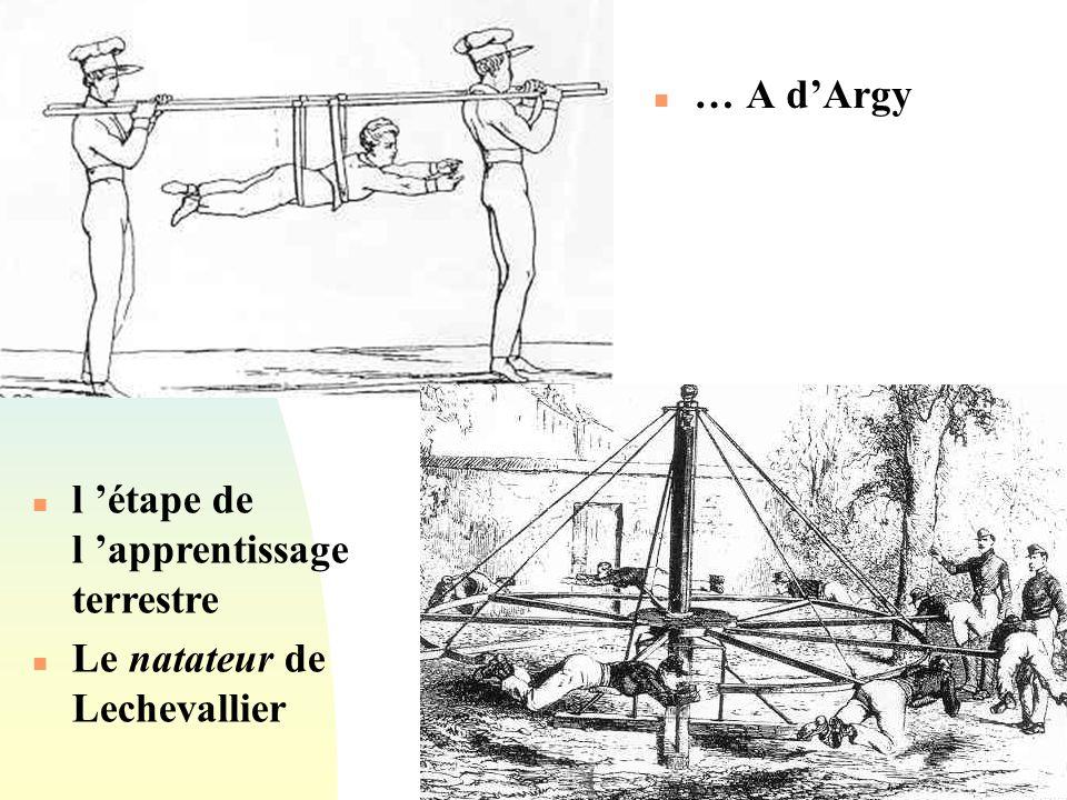 … A d'Argy l 'étape de l 'apprentissage terrestre Le natateur de Lechevallier
