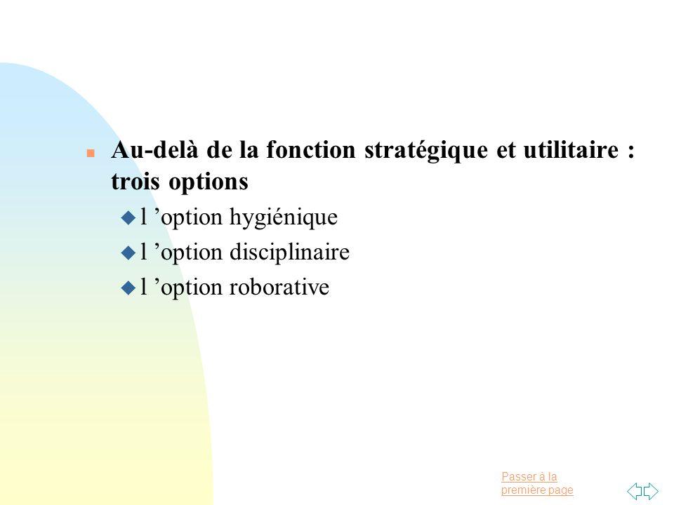 Au-delà de la fonction stratégique et utilitaire : trois options
