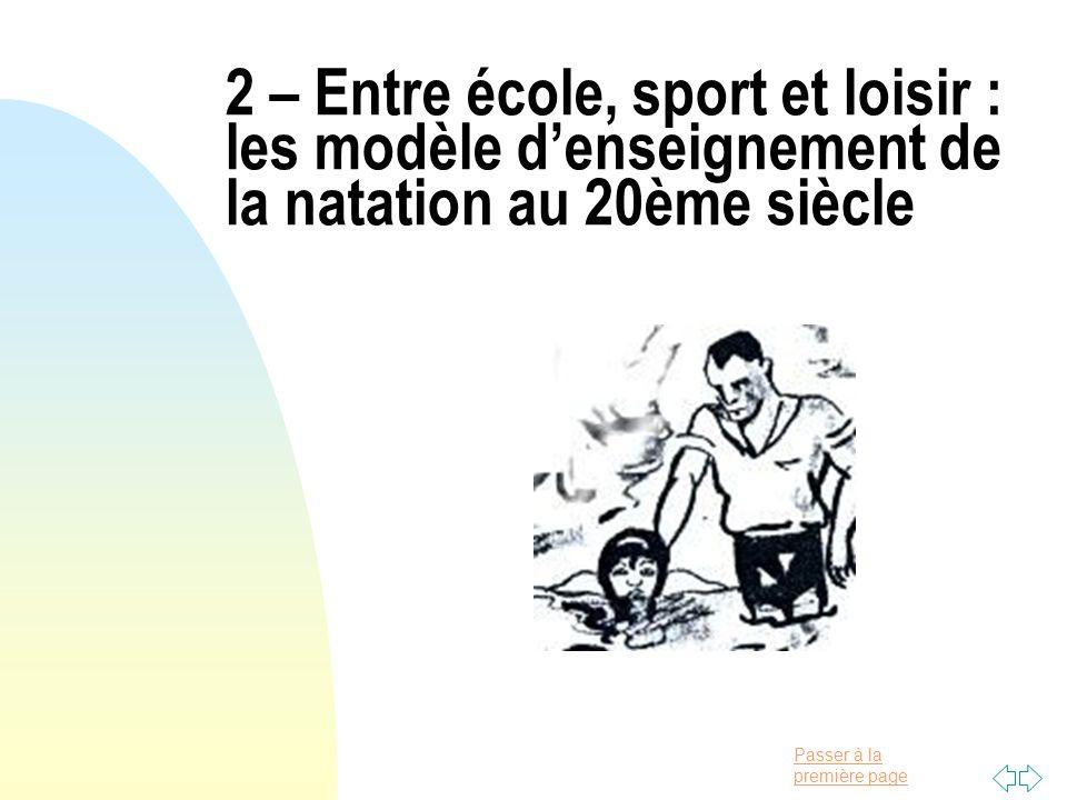 2 – Entre école, sport et loisir : les modèle d'enseignement de la natation au 20ème siècle