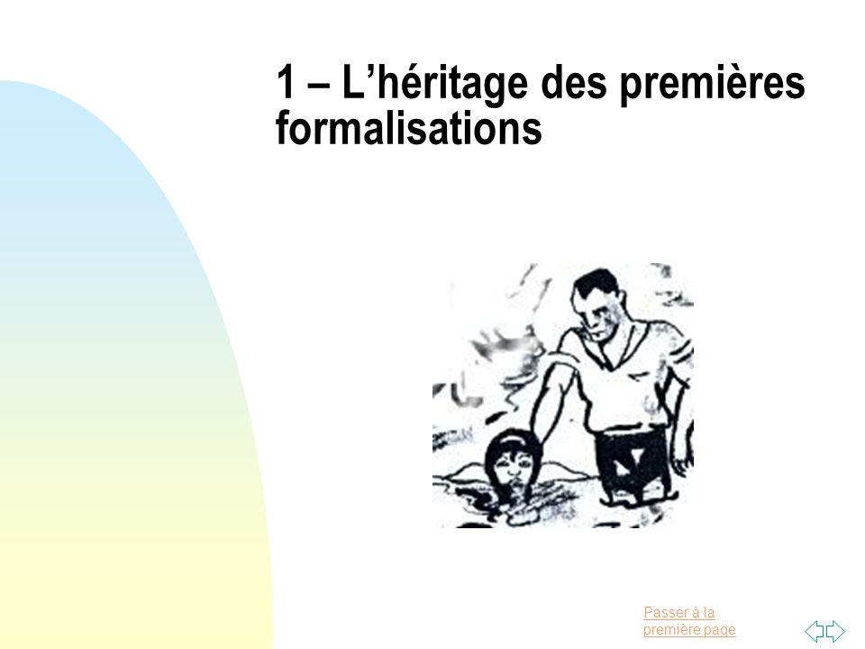 1 – L'héritage des premières formalisations