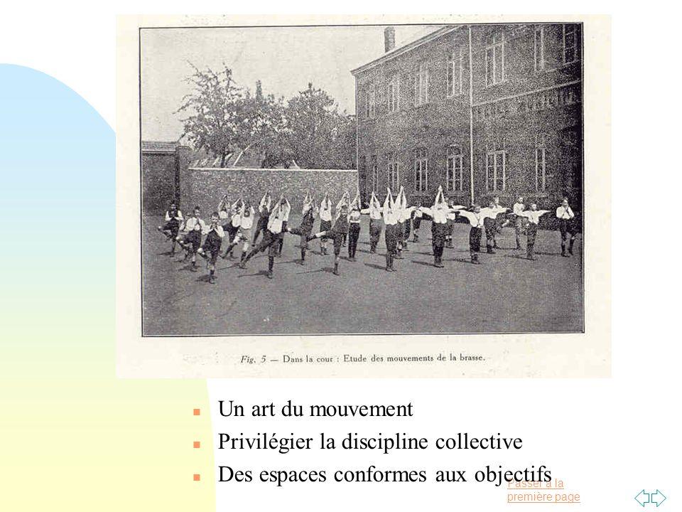 Un art du mouvement Privilégier la discipline collective Des espaces conformes aux objectifs